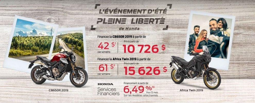 ÉVÈVENEMENT D'ÉTÉ PLEINE LIBERTÉ HONDA